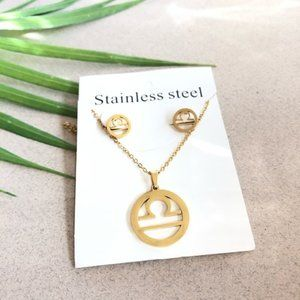 NEW Libra Sign Stainless Steel Necklace/Earrings